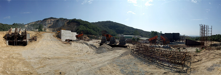SK cone crusher four brothers appeared in Guangdong Chaozhou 1000 tons / hour granite production line